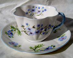 Vintage England Shelley Tea Cup and Saucer Set, Shelley Tea Cup Saucer Set Blue Rock Flowers Dainty Bone China England