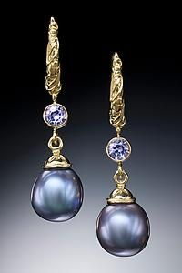Purple Pearl and Tanzanite Hoop Earrings: Conni Mainne: Gold, Stone, & Pearl Earrings | Artful Home
