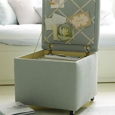 dream ottoman: casters, upholstered, hinges, hidden storage