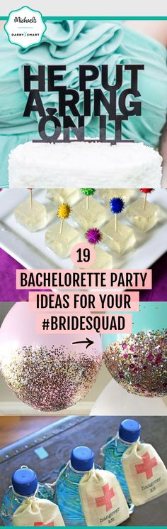 Hosting a bachelorette party for your BFF? Trendy cake toppers, glitter dipped balloons and hangover kits are just what your #BrideSquad needs! Visit Michaels.com for more bachelorette party ideas.