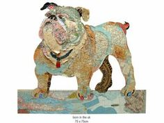 peter clark dog collages - The Peter Clark Dog Collages will breed puppy love. UK-based artist Peter Clark works with found paper as a palette to craft beautiful collages. Fish Collage, Art Du Collage, Collage Artists, Collage Ideas, Textile Artists, Art Ideas, Portfolio D'art, Map Crafts, Travel Crafts
