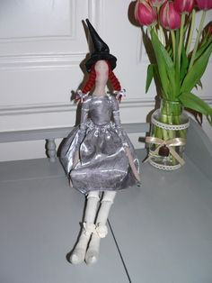 Tilda WITCH doll - WITCH doll - Handmade - Vintage - Gift - Home decoration - Home decor - Interior SPRING by TundeFairys on Etsy