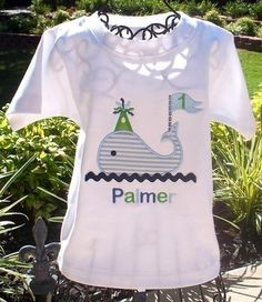 Boys Personalized Appliqued Birthday Whale. $17.50, via Etsy.