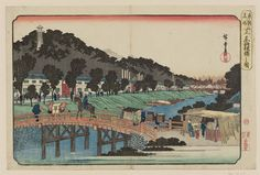 "Utagawa Hiroshige I 歌川広重 ""Akabane Bridge in Shiba"" from the series ""Famous Places in the Eastern Capital, "" about 1832–38 「東都名所 芝赤羽根橋之図」 Woodblock print (nishiki-e); ink and color on paper"