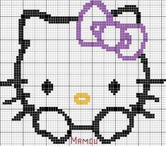 Hello Kitty étant le thème choisi par ma fille pour sa petite Alicia, je ne pouvais pas faire autrement que de faire quelques motifs moi aussi, la voici avec son petit noeud lila (pour une fois) Bon week-end
