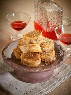 Try this beautiful classic Greek dessert made with almonds, thin filo and cinnamon. It's absolutely fabulous! Greek Sweets, Greek Desserts, Greek Recipes, Greek Pastries, Greek Dishes, French Toast, Deserts, Goodies, Sweet Home