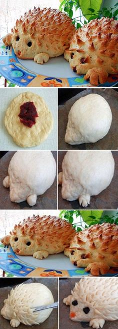 Lovely Hedgehog Bread.  Recipe--> http://wonderfuldiy.com/wonderful-diy-lovely-hedgehog-bread/