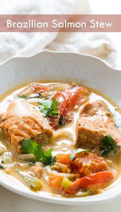 ) ~ Salmon stew based on Brazilian style moqueca fish stew. Salmon ...