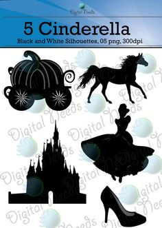 5 Cinderella Silhouettes / 5 png and SOURCE files by DigitalNeeds