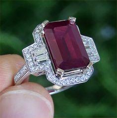 Vintage Estate 10.02 ct CERTIFIED Natural Red Ruby Diamond Ring 14K