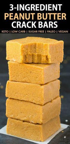 3 Ingredient Paleo Vegan Peanut Butter Crack Bars (Keto, Sugar Free)