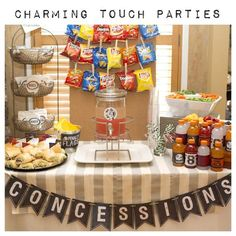 Football/basketball/baseball/soccer Chalkboard inspired CONCESSIONS banner for by CharmingTouchParties Sports Themed Birthday Party, Basketball Birthday Parties, Football Birthday, 1st Boy Birthday, Boy Birthday Parties, Birthday Party Decorations, Soccer Party, Flag Football Party, Baseball Party Decorations
