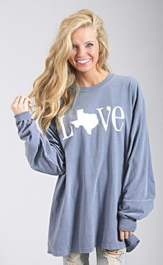 classic state love long sleeve - Texas [blue]
