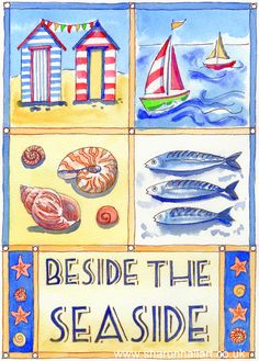 Beside the Seaside watercolour and ink painting by Sharon Hall.  Available as prints and greetings cards.