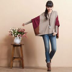 Loose batwing sleeve 100% cotton short sweater by deboy2000