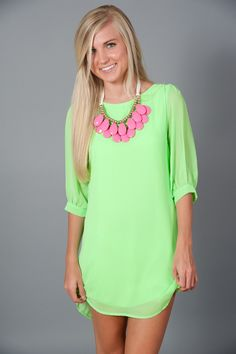 EVERLY: Sea Island Tunic-Neon Green RESTOCK