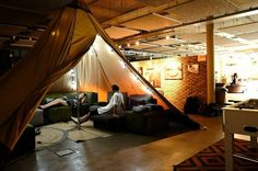 Indoor tee-pee at the Ecomama hostel in Amsterdam