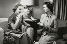 Two young women drinking tea --- Image by © SuperStock/Corbis Vintage Photos Women, Vintage Ladies, Business Pictures, Consumer Marketing, Irish Whiskey, Bacardi, Vintage Coffee, Coffee Drinks, Drinking Tea