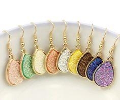 Bohemian Gold Frame Druzy Drusy Teardrop Earrings | Drop Earrings Chocolate, Pink Coral, or Creme by CuteDaintyJewelry on Etsy https://www.etsy.com/listing/451093808/bohemian-gold-frame-druzy-drusy-teardrop