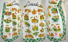 Vintage Canada Souvenir Half Apron by KrisVintageClothing on Etsy