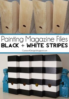 DIY - Hazlo tu mismo - Easy and cheap update: painting IKEA magazine files black and white stripes Diy Projects To Try, Craft Projects, Magazine Files, Space Crafts, Home Organization, Organizing, Getting Organized, Decoration, Diy Furniture