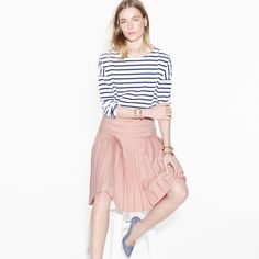 J.Crew Looks We Love: Women's Saint James for J.Crew slouchy tee, drop-waist pleated skirt in super 120s, Roxie printed pumps, and contoured spiked cuff.
