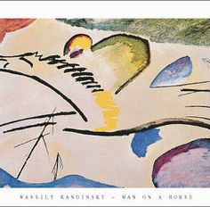 Kandinsky Man On A Horse Art Print measures 28 by 22 inches.