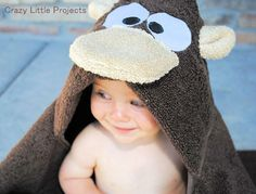 Monkey Hooded Towel Tutorial-Crazy Little Projects