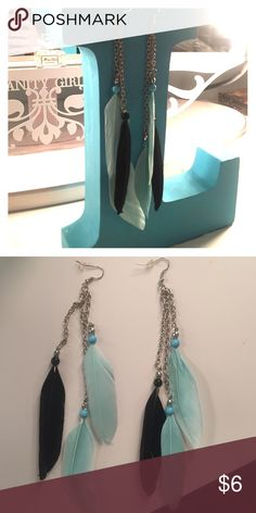 Blue and Black Feather Earrings Light Blue and Black Feather Earrings with Silver Chains, worn once or twice great condition Jewelry Earrings