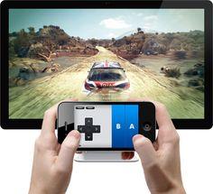 Joypad turns your iPhone into a game controller. http://en.softmonk.com/windows/joypad/