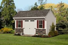 Love the Quaker style shed! Vinyl Storage Sheds, Vinyl Sheds, Shed Storage, Built In Storage, Architecture Details, Storage Solutions, Outdoor Structures, Garden Sheds, Building