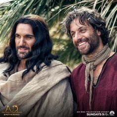 """Jesus (Juan Pablo Di Pace) and Peter (Adam Levy) from """"A.D.: The Bible Continues"""". This is a great miniseries; love watching it every Sunday night<3"""