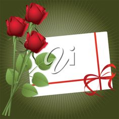 iCLIPART - Clip Art Illustration of Three Red Roses with a Gift Card
