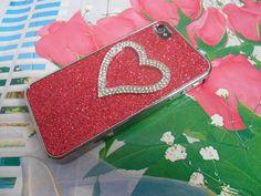 with rhineston heart iPhone 4 4S hard Case by jewelrybraceletcuff, $11.98