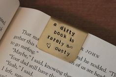 Items similar to Bookmark - Hand Stamped Metal - A dirty book is rarely dusty on Etsy I Love Reading, Love Book, Books To Read, My Books, Hand Stamped Metal, Indie Movies, Romance Books, Metal Stamping, Book Recommendations