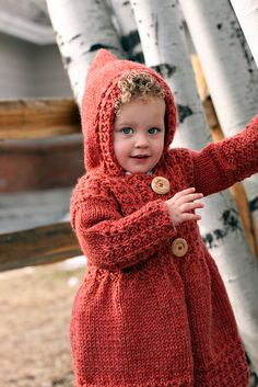 Free Knitting Pattern for child's sweater with hood - little red riding hood: Phoebe's Sweater by Joanna Johnson