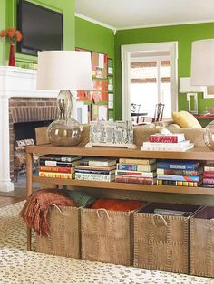 Family room organization - I like the idea of the baskets on the floor under a sofa table. My Living Room, Home And Living, Living Room Furniture, Living Spaces, Simple Living, Modern Living, Luxury Living, Mesa Sofa, Living Room Storage