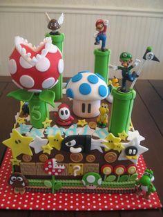 Super Mario brothers Luigi, Yoshi Cake. Sweet Lealea - Children's Cakes: