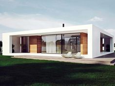 Amusing One Story Flat Roof House Plans Pictures - Ideas house design - younglove. House Roof Design, Flat Roof House, Facade House, Modern House Design, House Facades, Flat House Design, Casas Containers, Modern House Plans, Story House