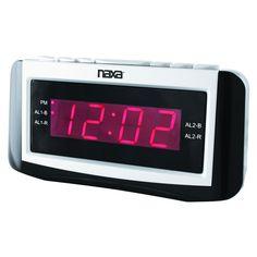 "Naxa PLL Digital Alarm Clock with AM/FM Radio, Snooze & Large LED Display. * PLL Digital AM/FM Radio Tuner * 10 AM & 10 FM Radio Station Presets * Dual Alarm Function * Large 0.9"""" LED Display * Wake up to Radio or Alarm * Snooze and Sleep Function * UL/ETL Approved AC Adapter"