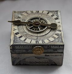 box clockhands coppertronic gears steampunk upcycled art