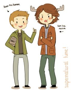 Sam and Dean Winchester>> WITH SAM THE MOOSE AND DEAN THE HUMAN, THE WORLD MAY OFTEN END, SUPERNATURAL TIME!!