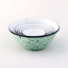 Enamel Graniteware Nesting Bowls, Jadite with Black