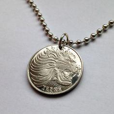1977 Ethiopia 25 Santeem coin pendant necklace Roaring Lion of Judah Rastafari Ethiopian Africa Wild antelope Leo king Proof coin No.001167 by acnyCOINJEWELRY on Etsy