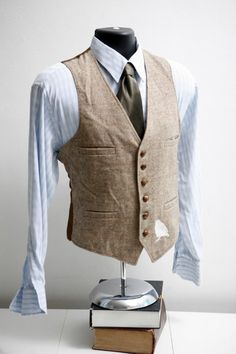 Vintage Upcycled Tweed Vest with Screen Printed Sparrow Men's Large 44 Chest
