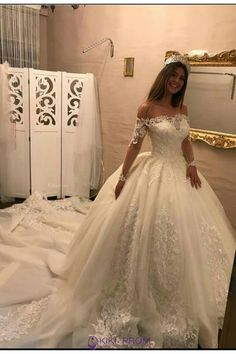 New Arrival Wedding Dresses Ball Gown 2019 robe de mariage Boat Neck Lace Long Sleeve Tulle Bridal Gowns Luxury Wedding Dress, Long Wedding Dresses, Princess Wedding Dresses, Cheap Wedding Dress, Bridal Dresses, Gown Wedding, Winter Wedding Dress Ballgown, Lace Wedding, Wedding Bride