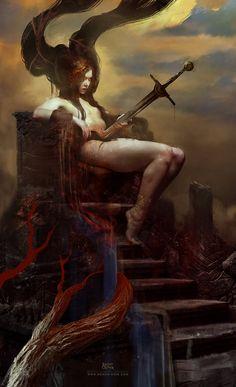 The Impaled Queen, Bastien Lecouffe Deharme on ArtStation at https://www.artstation.com/artwork/the-impaled-queen