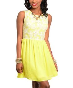 This Yellow & White Floral Lace Fit & Flare Dress by Buy in America is perfect! #zulilyfinds