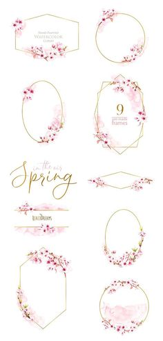 Watercolor Frames Floral Sakura Pre-made clipart blossom