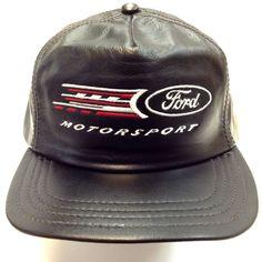 FORD MOTORSPORT BASEBALL LEATHER HAT/CAP made in USA by Henschel, Black #Henschel
